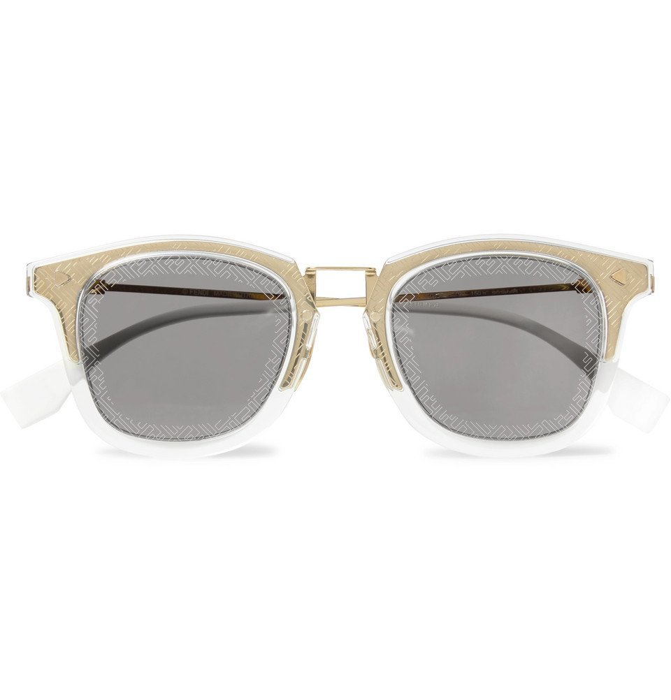 Photo: Fendi - D-Frame Acetate and Gold-Tone Logo-Print Sunglasses - Gold