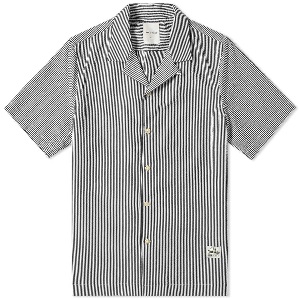 Photo: Wood Wood Short Sleeve Brandon Seersucker Stripe Vacation Shirt