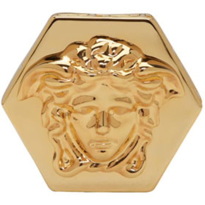 Photo: Versace Gold Hexagonal Medusa and Greek Key Ring