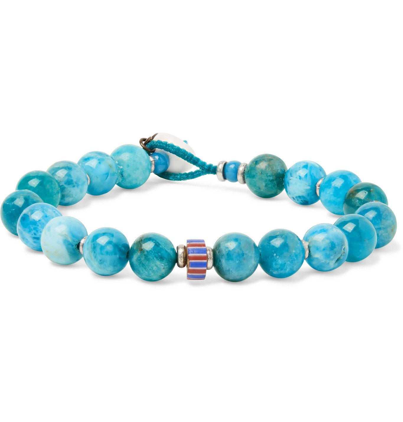 Photo: Mikia - Apatite, Silver-Plated, Glass and Shell Beaded Bracelet - Blue