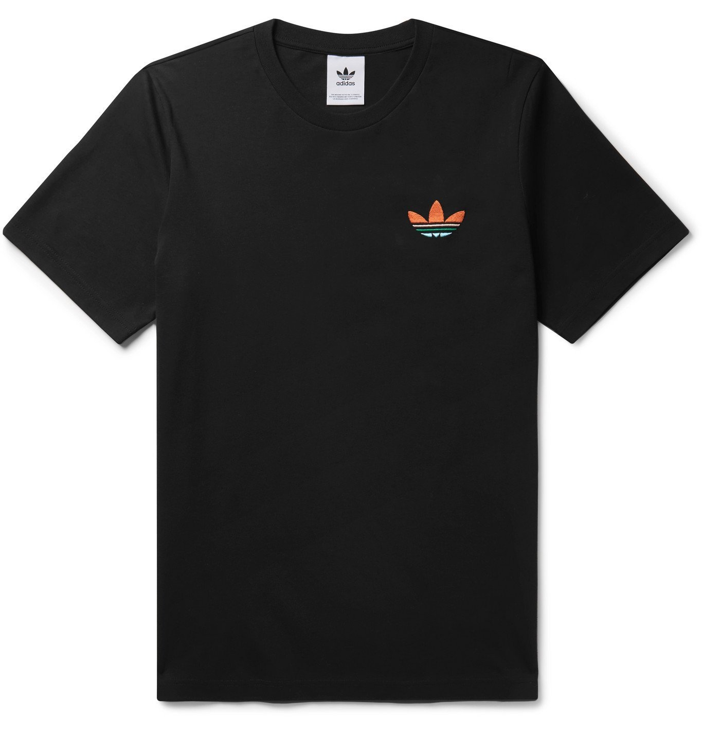 Photo: adidas Originals - Logo-Embroidered Printed Cotton-Jersey T-Shirt - Black
