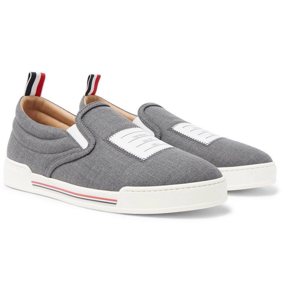 Photo: Thom Browne - Logo-Appliquéd Wool Slip-On Sneakers - Gray
