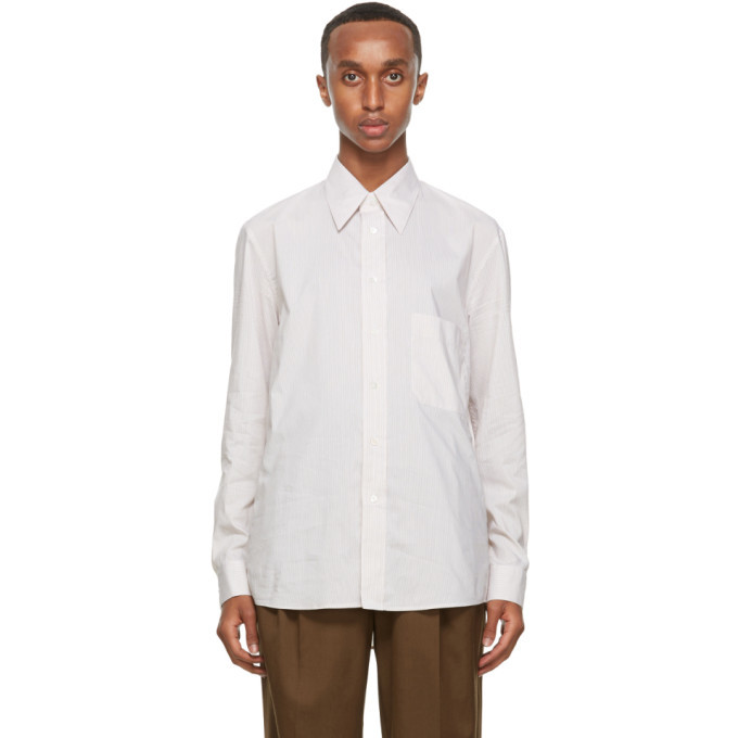 Photo: Lemaire Beige and White Silk Striped Regular Shirt