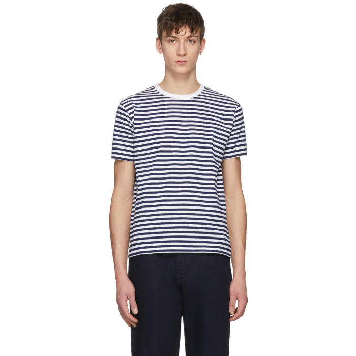 Photo: Nanamica Navy and White Striped COOLMAX T-Shirt