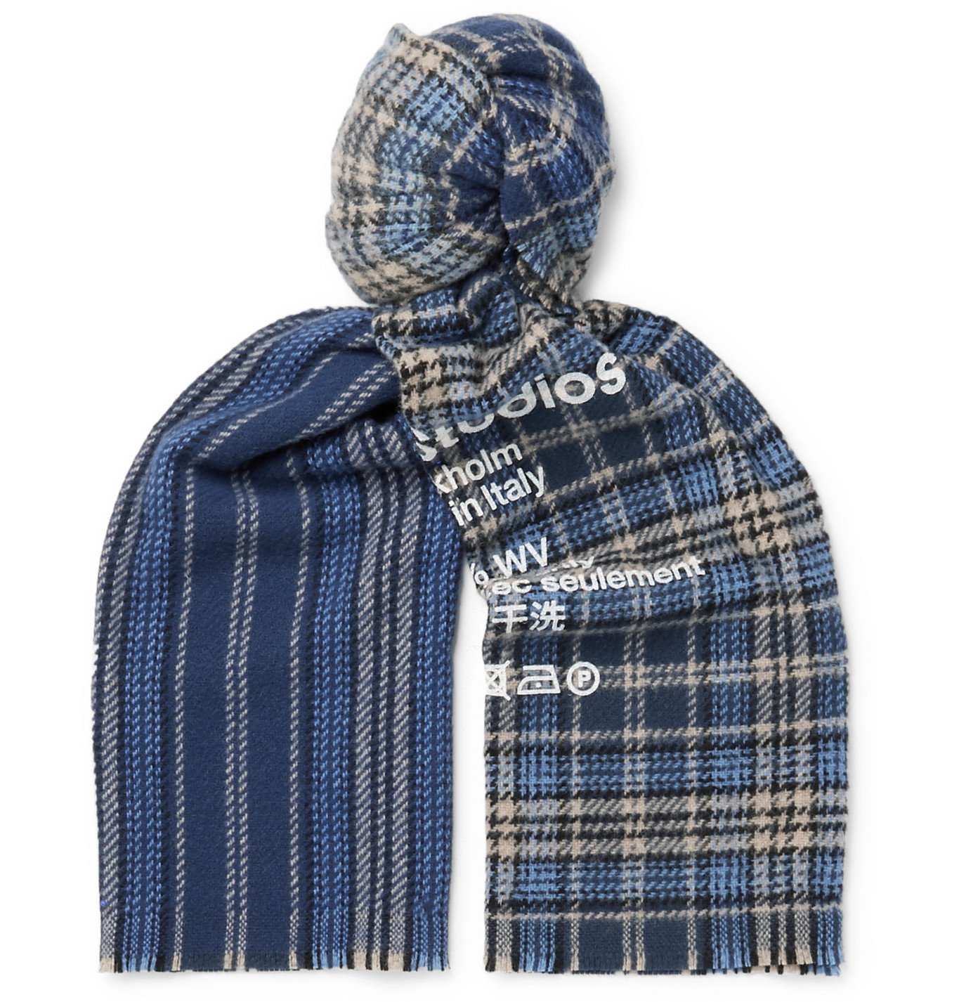 Photo: Acne Studios - Logo-Print Fringed Checked Wool Scarf - Blue