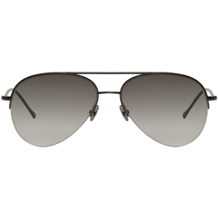 Photo: Belstaff Black Leather Phoenix Aviator Sunglasses