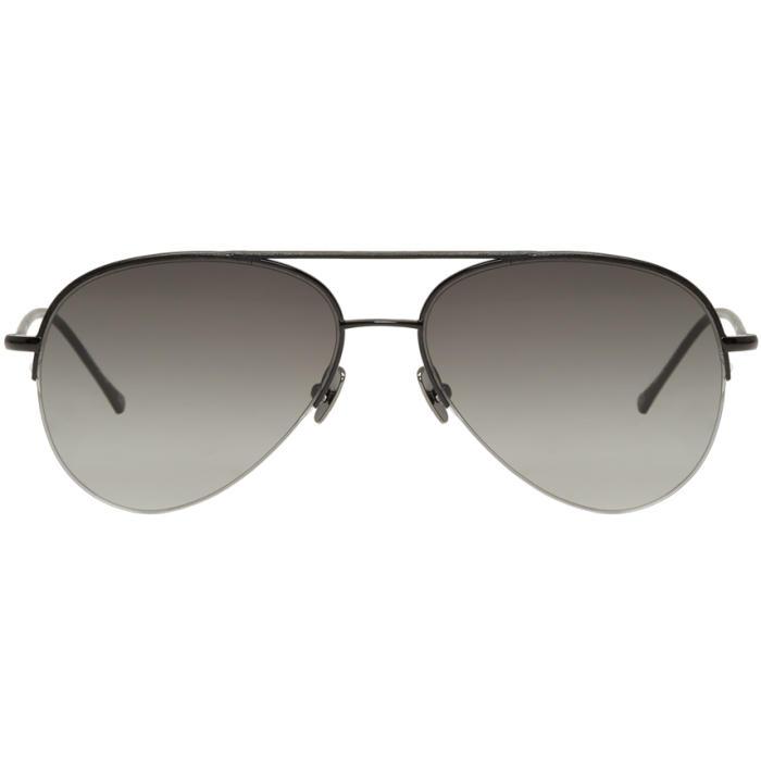 Belstaff Black Leather Phoenix Aviator Sunglasses