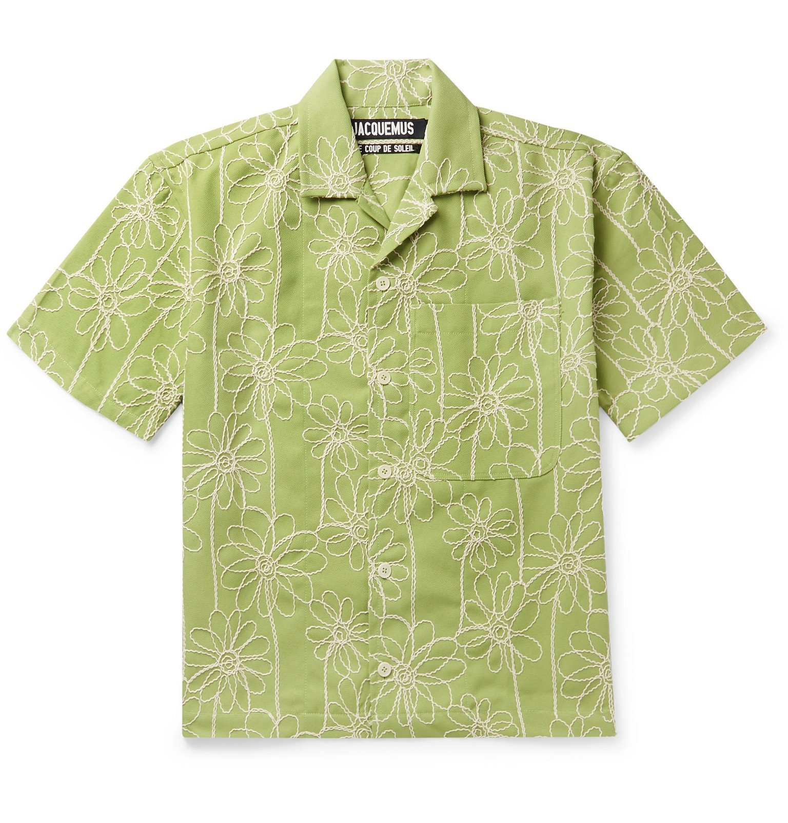 Photo: Jacquemus - Jean Camp-Collar Embroidered Twill Shirt - Green