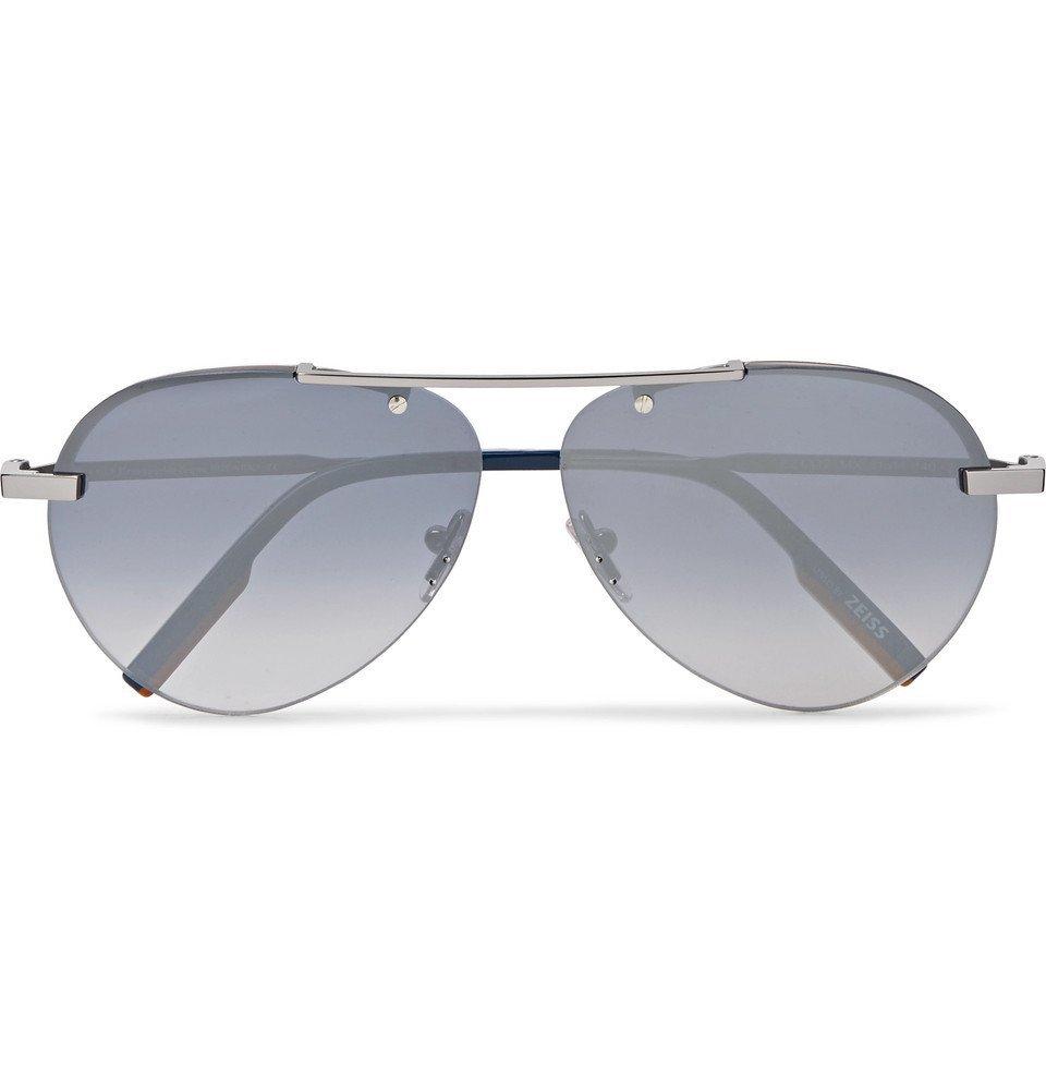 Photo: Ermenegildo Zegna - Aviator-Style Gunmetal-Tone Sunglasses - Gunmetal