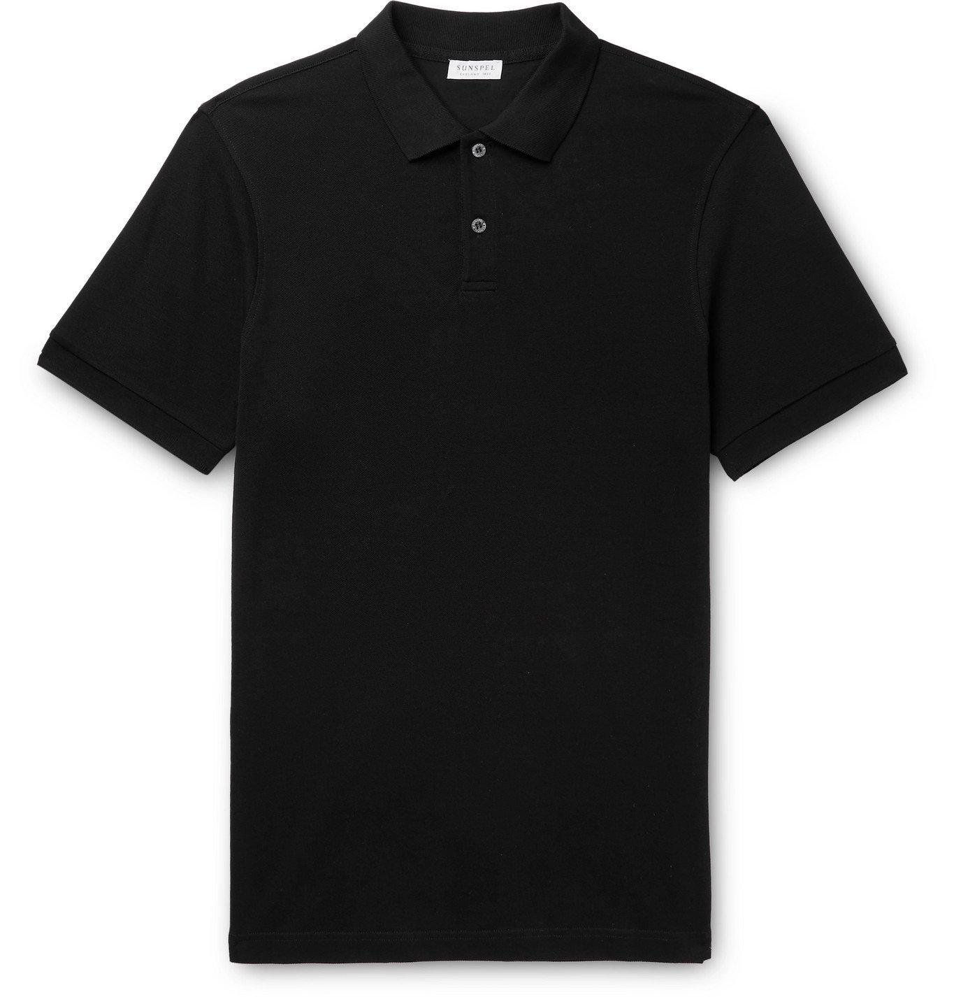 Photo: Sunspel - Cotton-Piqué Polo Shirt - Black