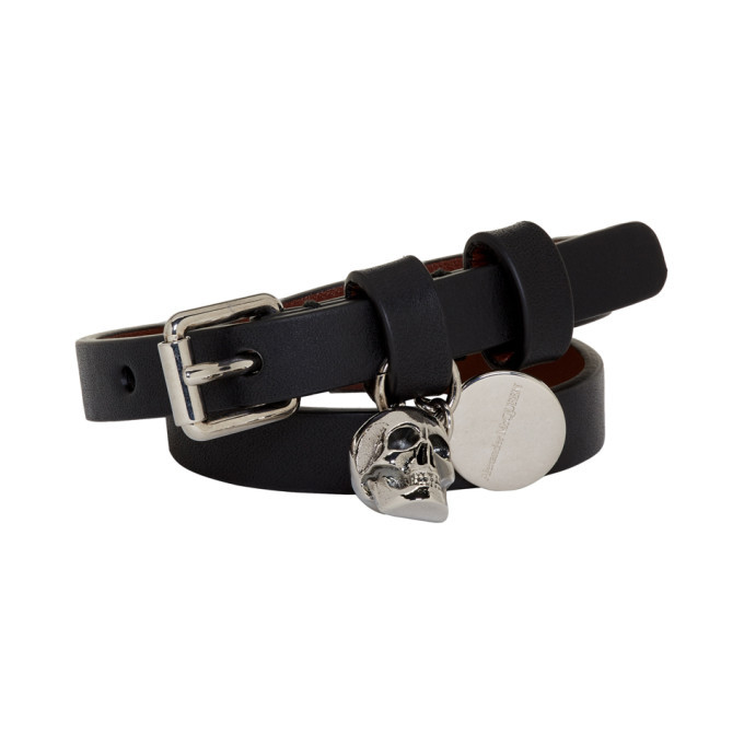 Photo: Alexander McQueen Black and Silver Double Wrap Skull Bracelet