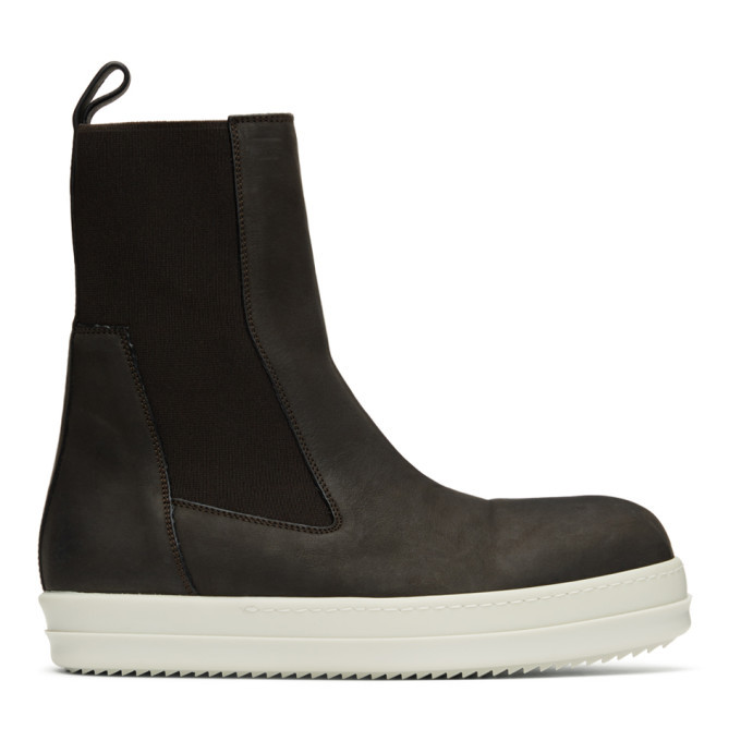 Photo: Rick Owens Brown Bozo Chelsea Boots