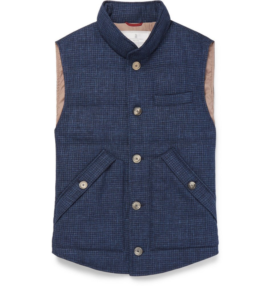 Photo: Brunello Cucinelli - Slim-Fit Checked Quilted Wool, Linen and Silk-Blend Down Gilet - Blue