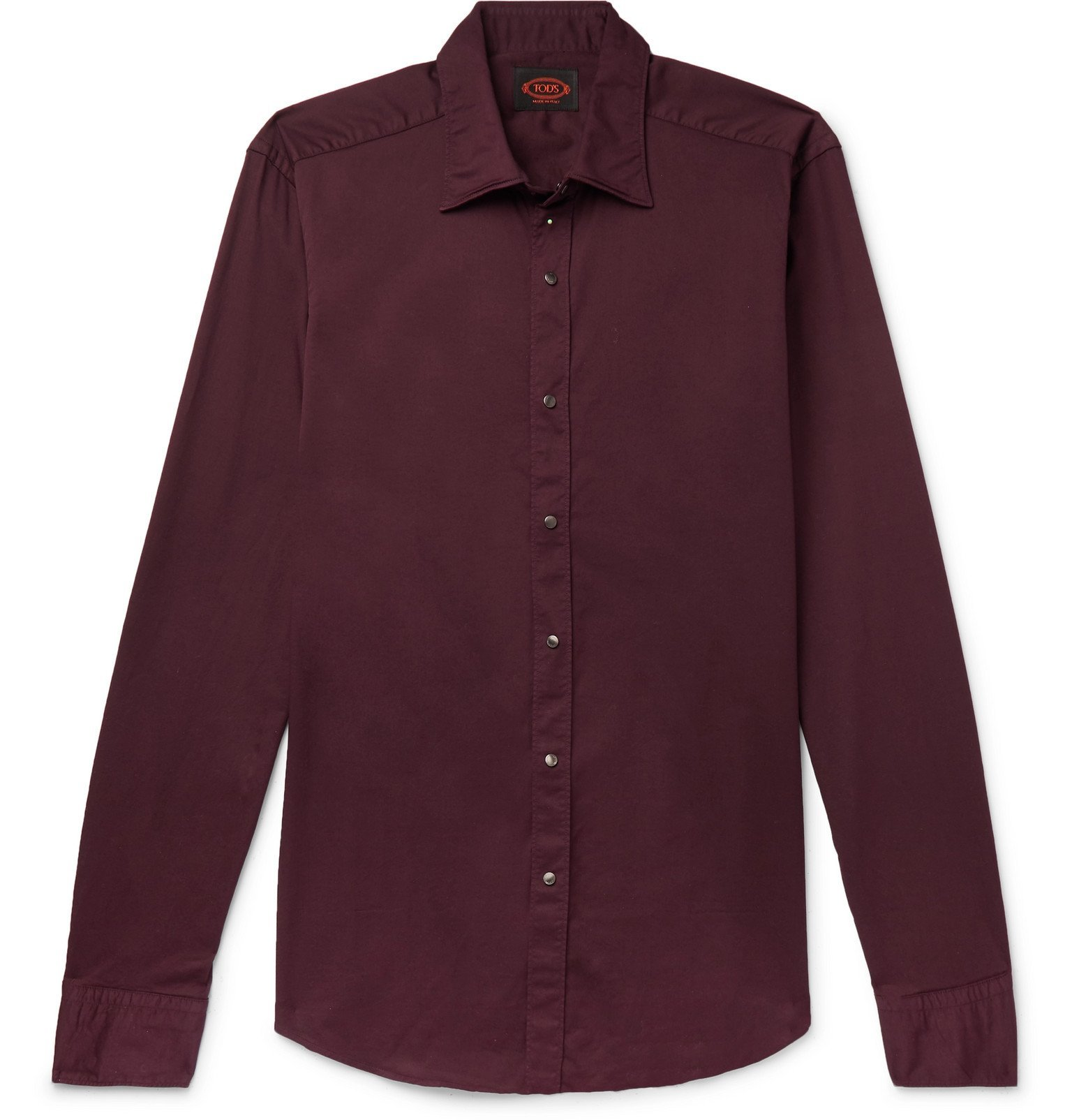Photo: Tod's - Slim-Fit Garment-Dyed Cotton-Blend Twill Shirt - Burgundy