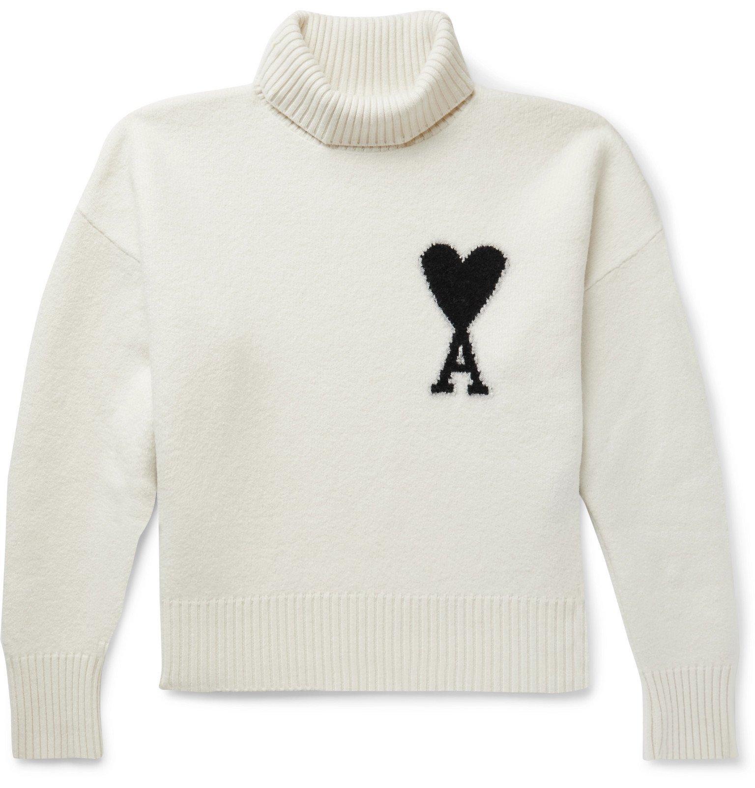Photo: AMI - Logo-Intarsia Merino Wool Rollneck Sweater - Neutrals