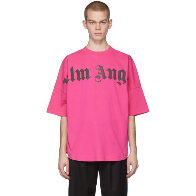 Photo: Palm Angels Pink Front Logo Over T-Shirt