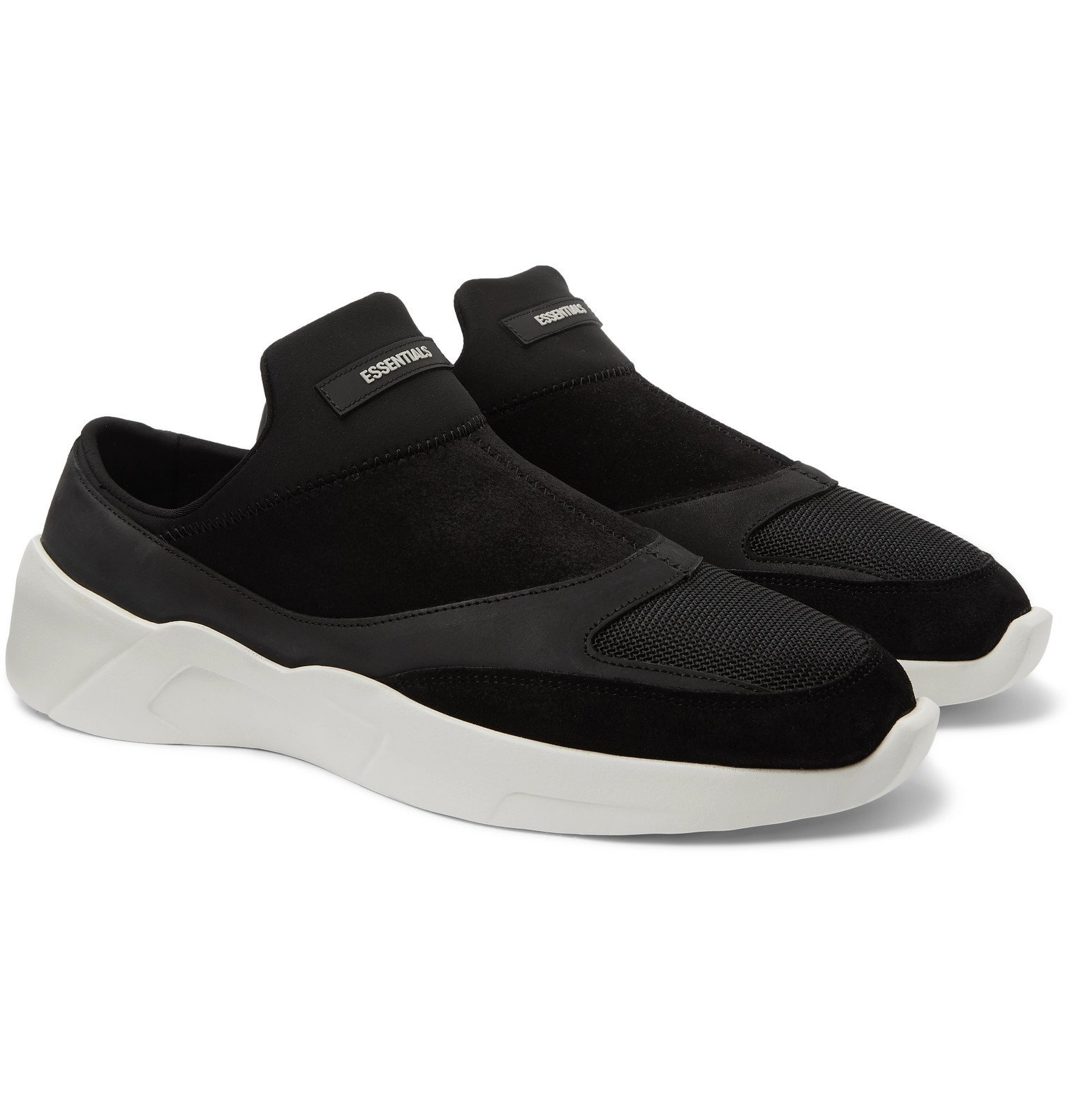 Photo: Fear Of God Essentials - Suede, Leather and Neoprene Backless Sneakers - Black