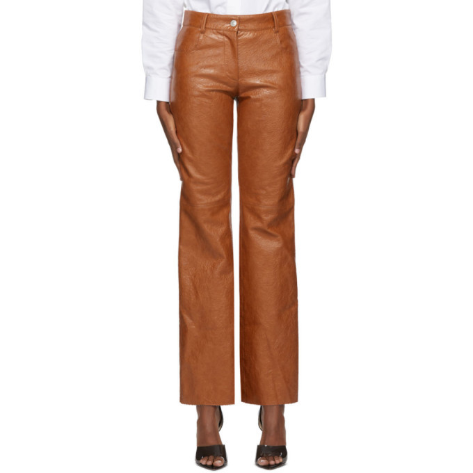 Photo: MSGM Tan Faux-Leather Trousers