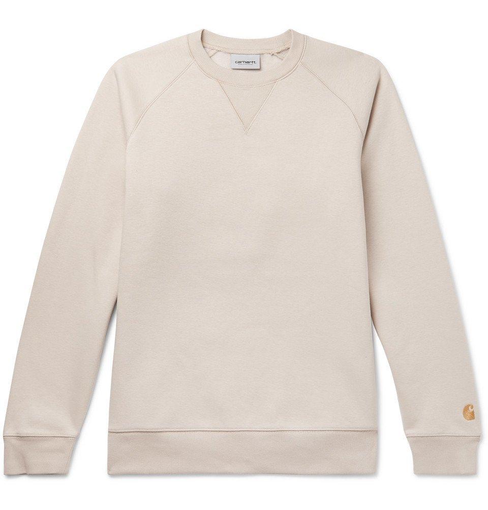 Photo: Carhartt WIP - Chase Logo-Embroidered Fleece-Back Cotton-Blend Jersey Sweatshirt - Beige