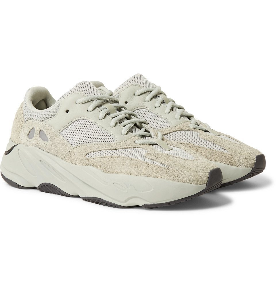 adidas Originals - Yeezy 700 Leather, Suede and Mesh Sneakers - Light gray