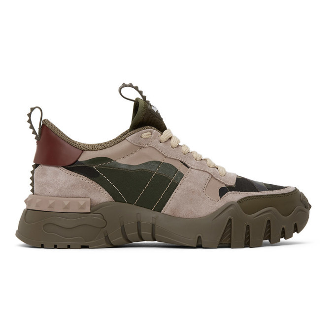 Photo: Valentino Khaki and Pink Valentino Garavani Camo Rockrunner Sneakers