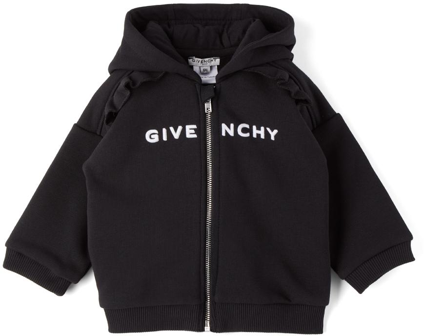 Photo: Givenchy Baby Black Logo Ruffle Zip Hoodie