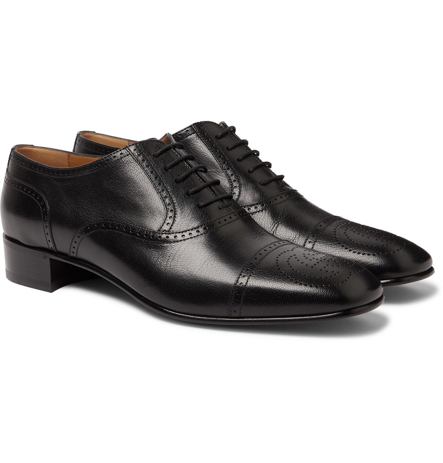 Photo: Gucci - Dracma Leather Wingtip Brogues - Black