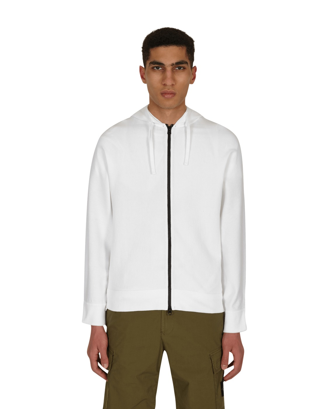 Photo: Stone Island Inside Out Logo Hooded Zip Up Sweater White