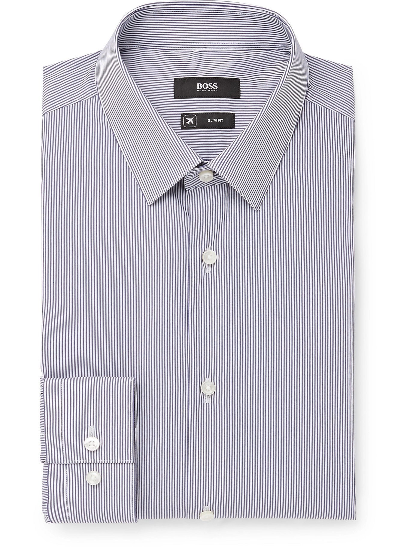 Photo: HUGO BOSS - Slim-Fit Pinstriped Cotton-Blend Shirt - Blue