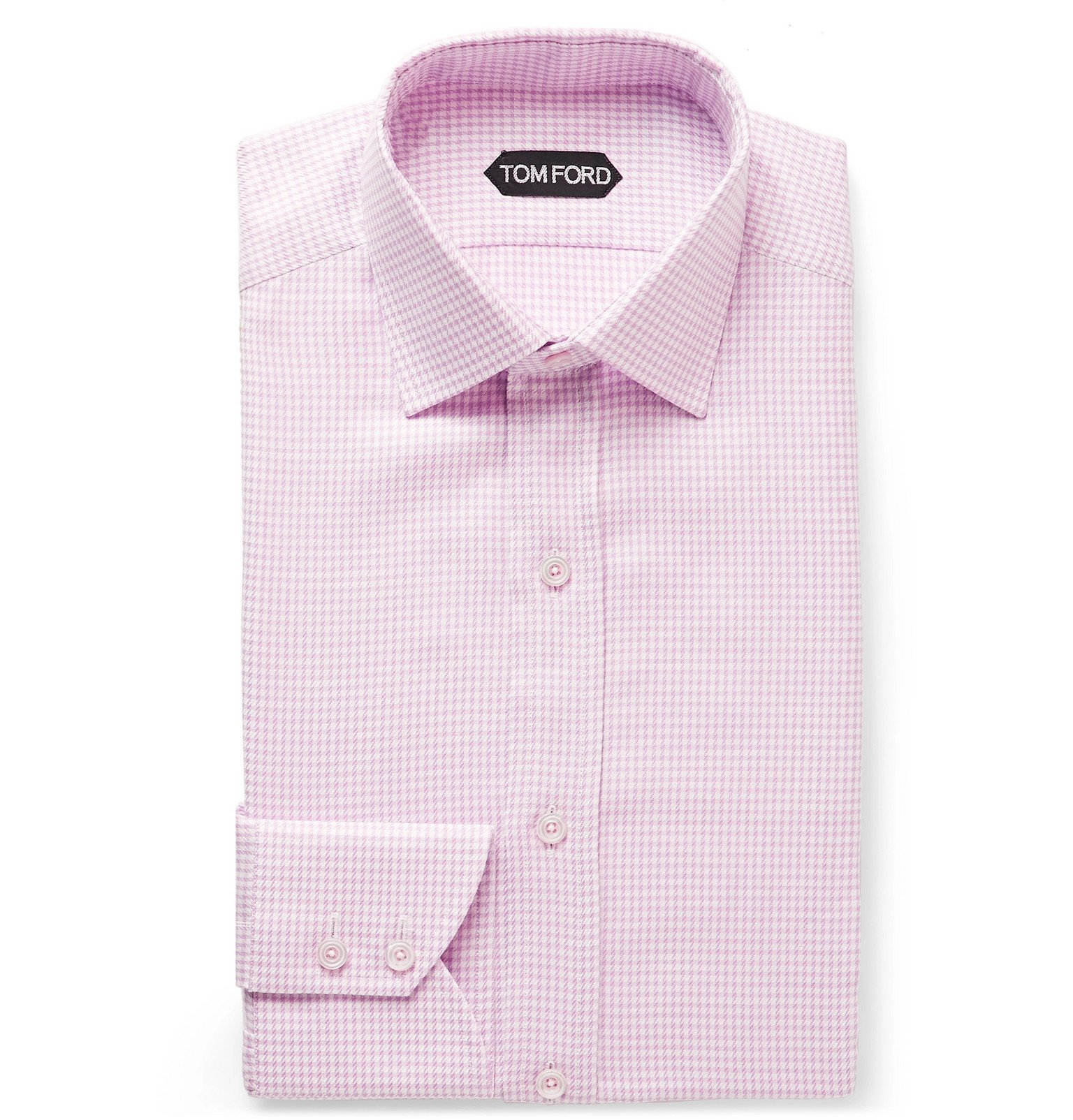 Photo: TOM FORD - Pink Slim-Fit Cutaway-Collar Houndstooth Cotton Shirt - Pink