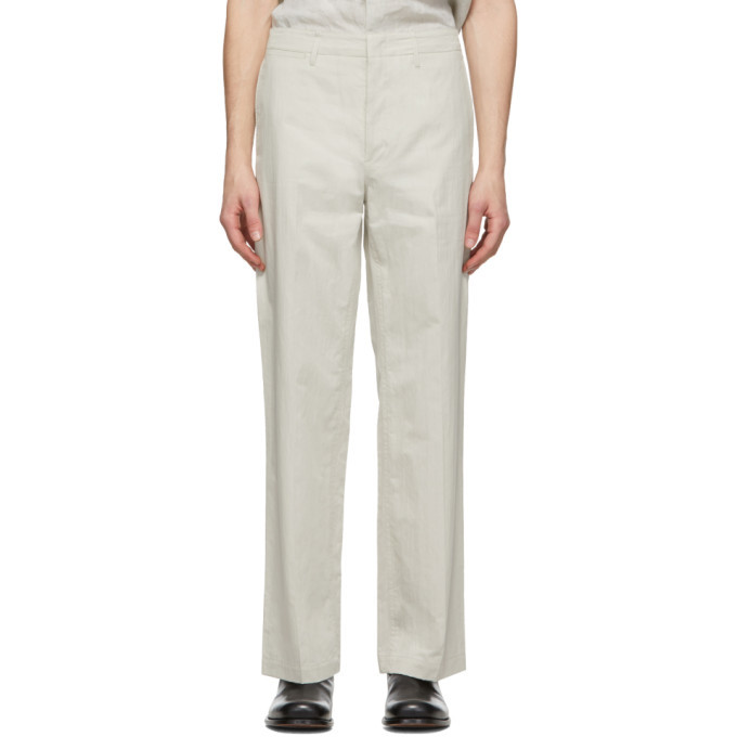 Photo: Lemaire Off-White Straight-Leg Chino Trousers
