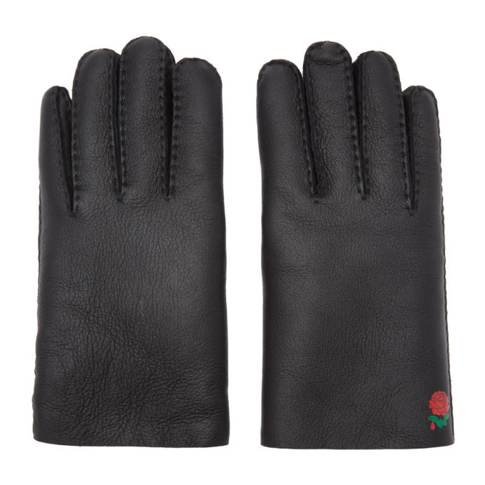 Photo: Undercover Black Shearling Rose Gloves