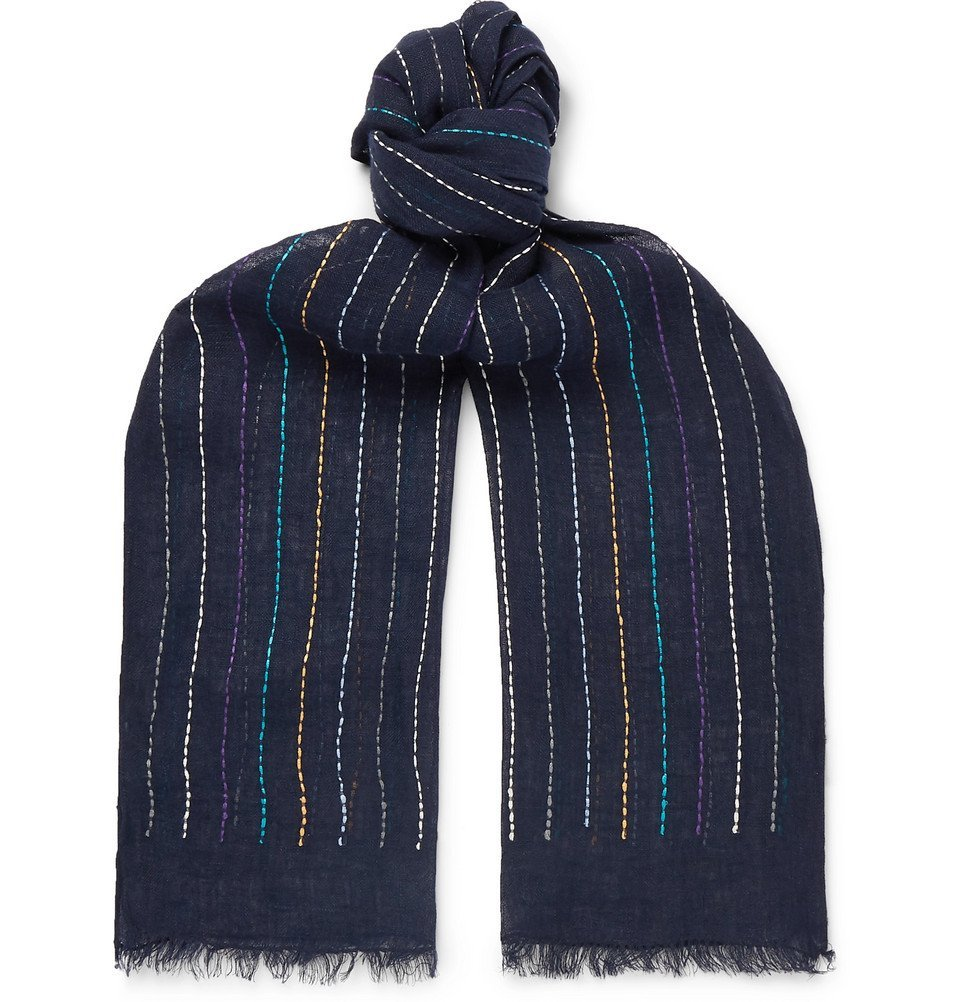 Photo: Paul Smith - Fringed Embroidered Linen Scarf - Navy