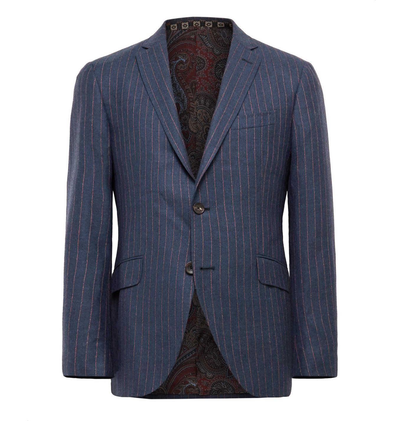 Photo: Etro - Slim-Fit Unstructured Striped Wool, Cashmere, Silk and Cotton-Blend Suit Jacket - Blue