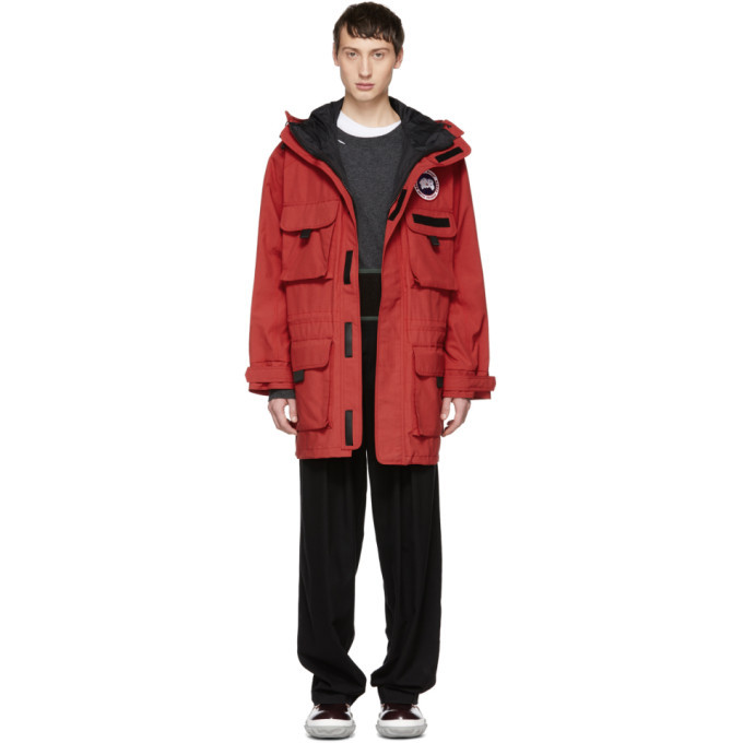 Photo: Junya Watanabe Red Canada Goose Edition Hooded Coat