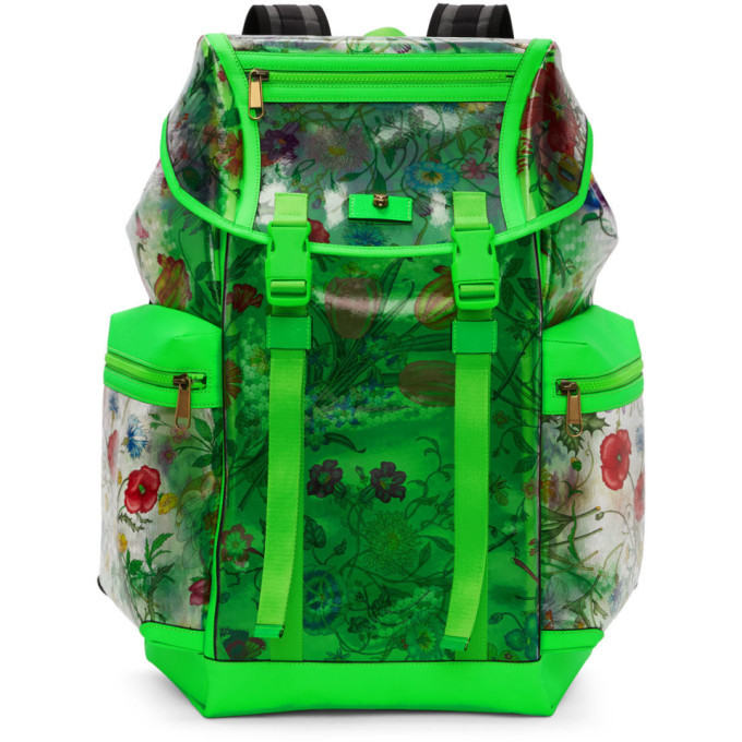 Photo: Gucci Green Clear Flowers Backpack