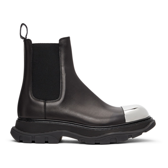 Photo: Alexander McQueen Black and Silver Tread Slick Chelsea Boots