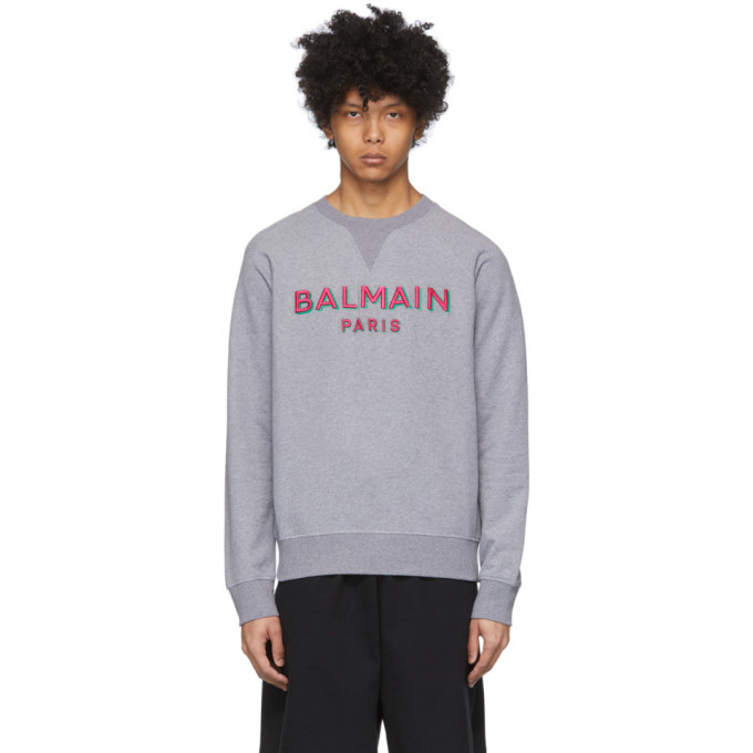 Photo: Balmain Grey 3D Logo Sweatshirt