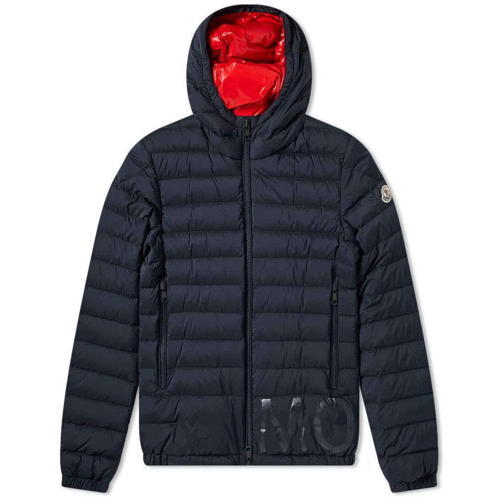 Photo: Moncler Dreux Hooded Down Jacket Navy & Red