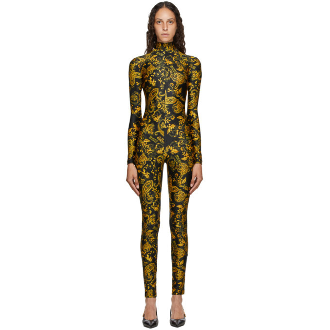 Photo: Versace Jeans Couture Black and Gold Paisley Print Jumpsuit