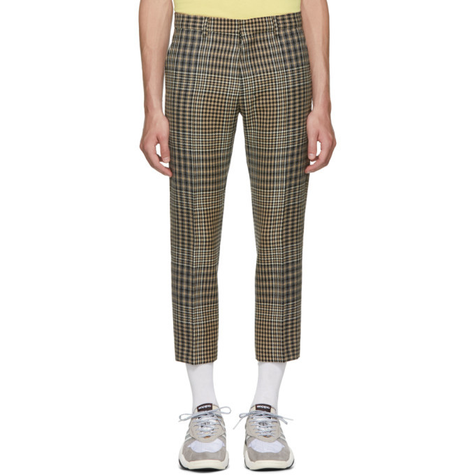 Photo: AMI Alexandre Mattiussi Black and Beige Checkered Cropped Trousers