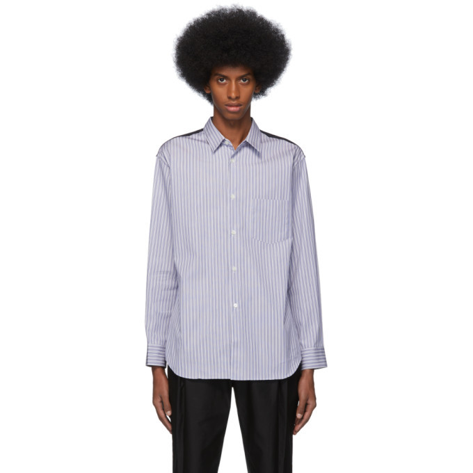 Photo: Comme des Garcons Shirt Black and White Stripe Wool and Poplin Shirt