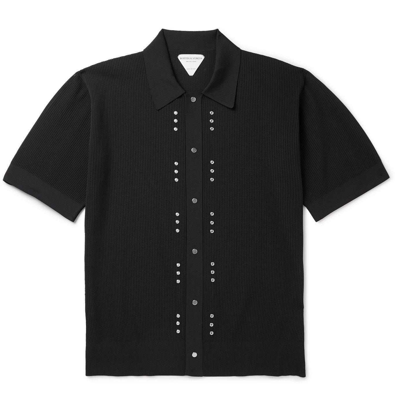 Photo: Bottega Veneta - Stud-Embellished Cotton-Piqué Polo Shirt - Black