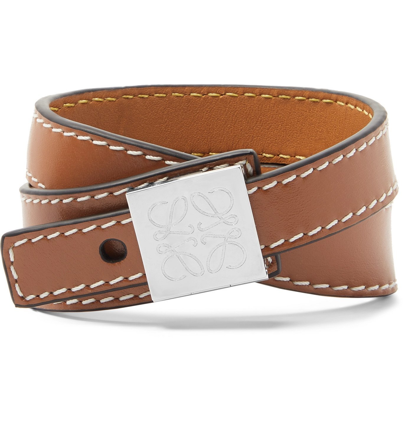 Photo: Loewe - Anagram Logo-Detailed Silver-Tone and Leather Wrap Bracelet - Brown