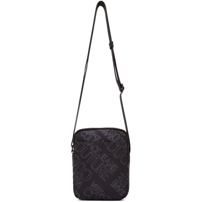 Versace Jeans Couture Black All Over Logo Messenger Bag