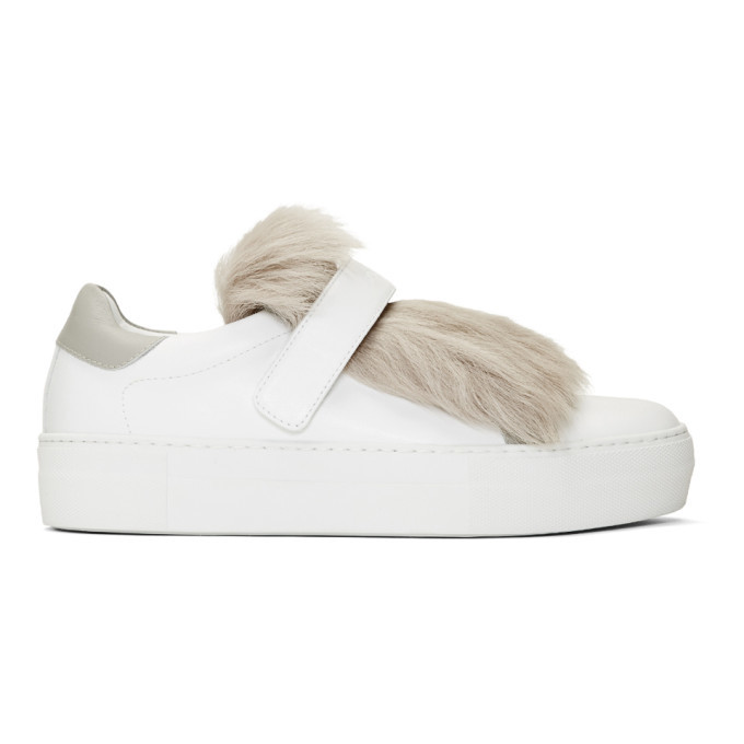 Photo: Moncler White Fur Victoire Slip-On Sneakers