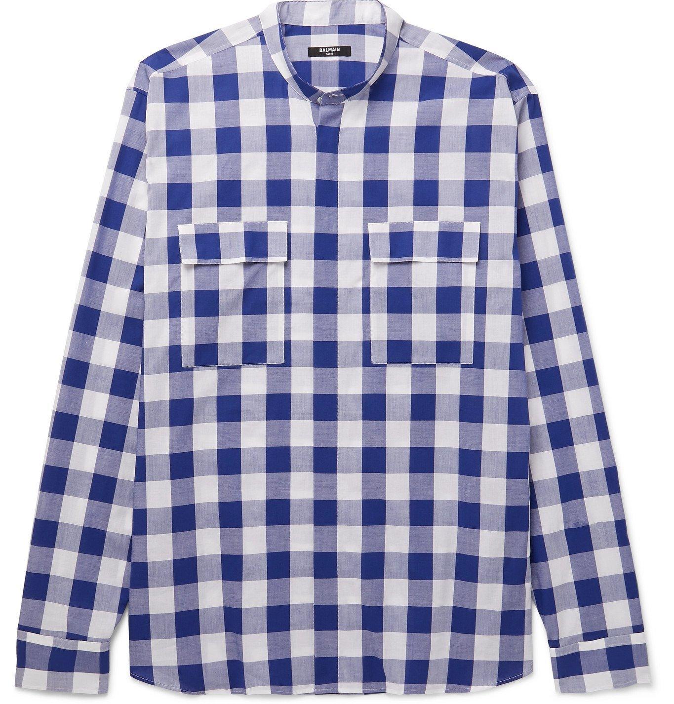 Photo: BALMAIN - Grandad-Collar Checked Cotton-Poplin Shirt - Blue