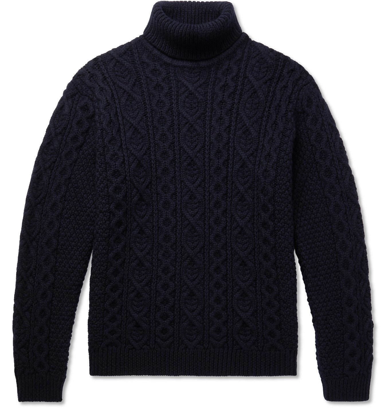 Photo: NN07 - Bert Cable-Knit Wool Rollneck Sweater - Blue