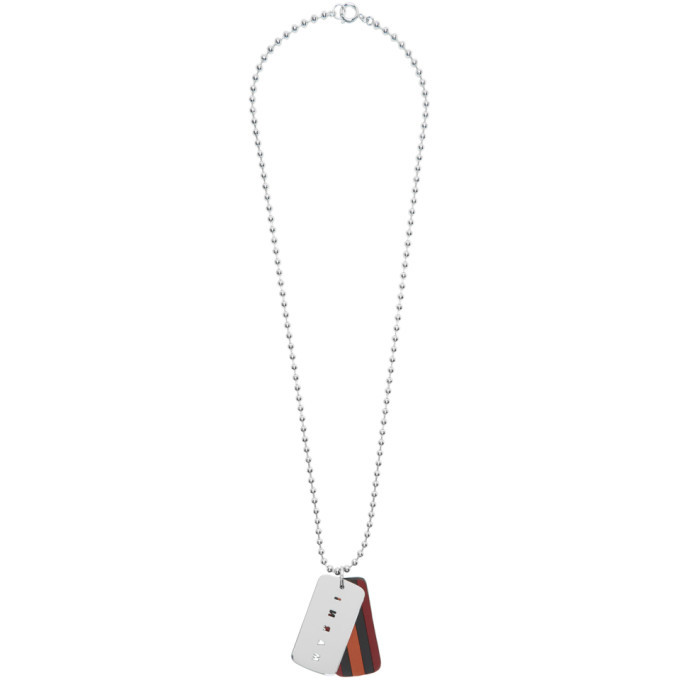 Photo: Marni Silver and Orange Dogtag Necklace