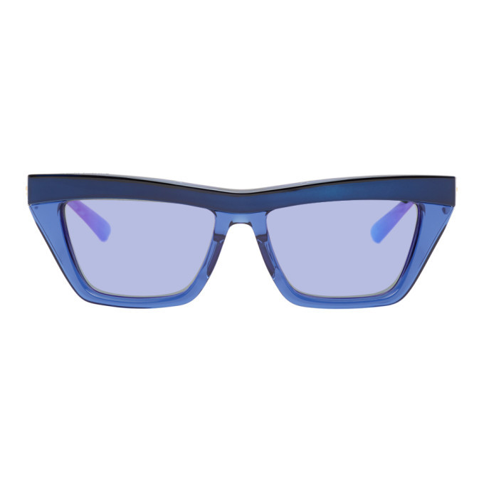Photo: Bottega Veneta Blue Rectangular Sunglasses